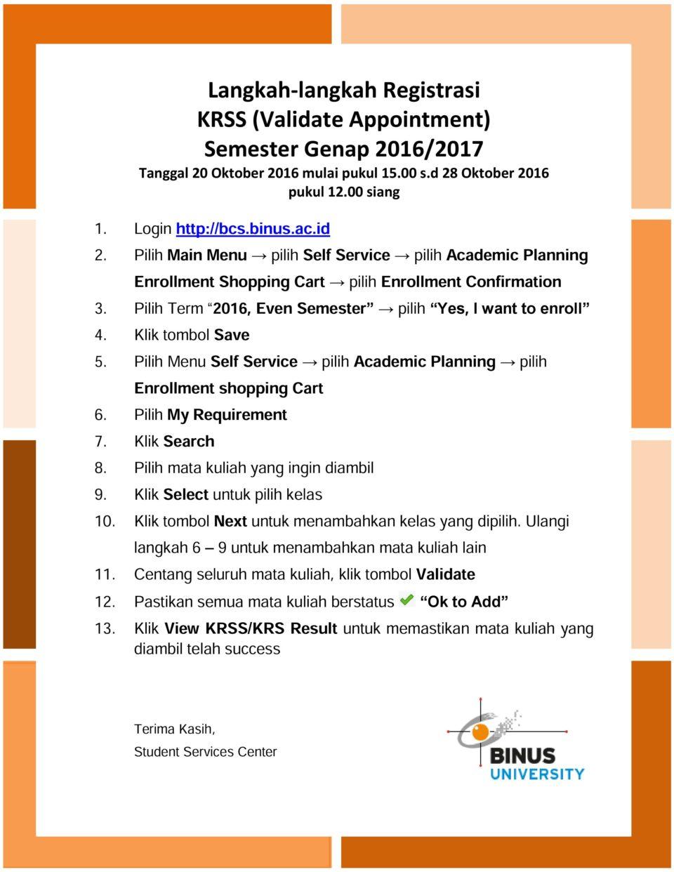 Langkah-langkah Registrasi KRSS (Validate Appointment) Semester Genap 2016/207