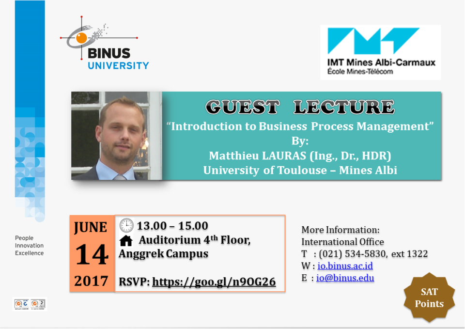 [Guest Lecture] Matthieu Lauras from University of Toulouse – Mines Albi, France